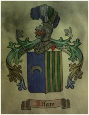 Escudo usado por los Alfaro de Cervera del Rïo Alhama y sus descendientes